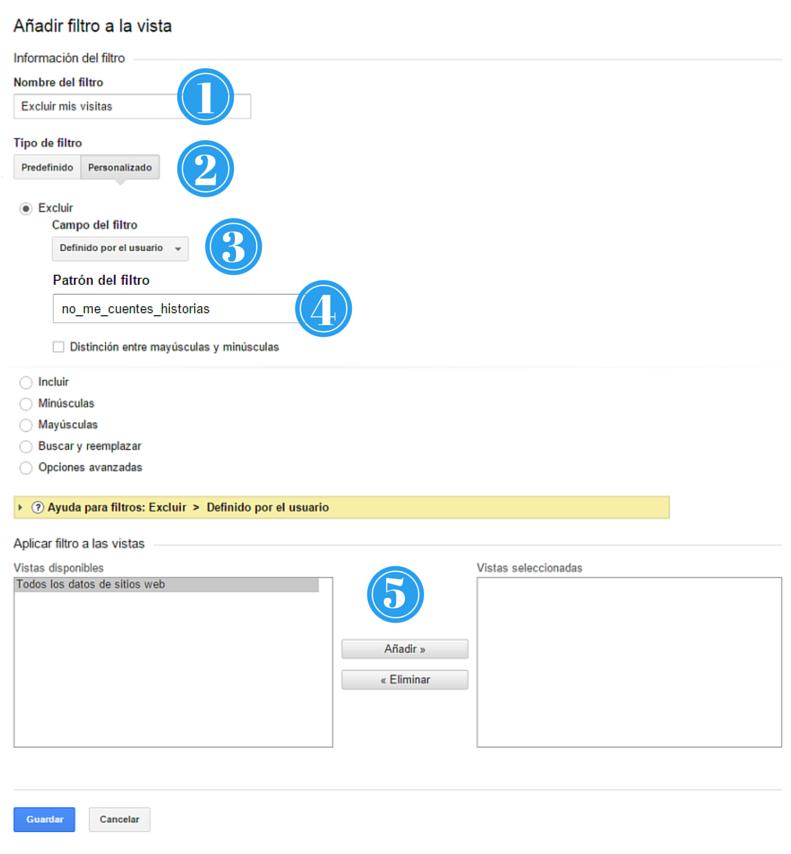 Pasos para crear filtro en Google Analytics